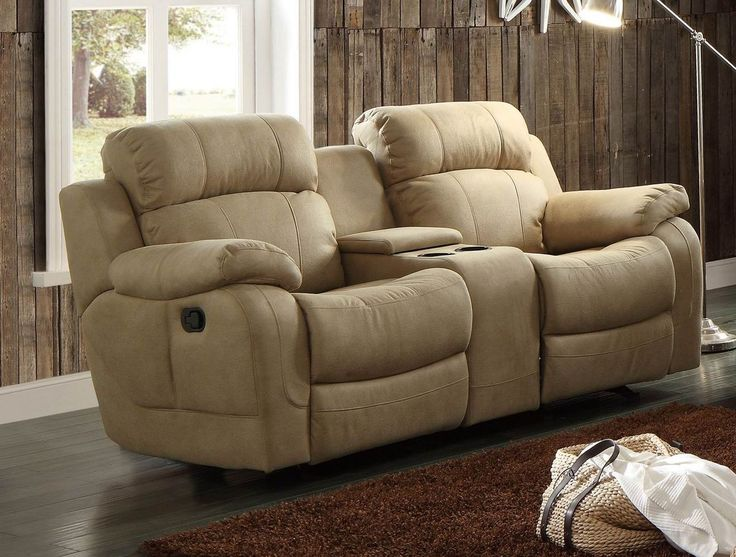 Sofa With Center Console Recliner Chair Double Wide