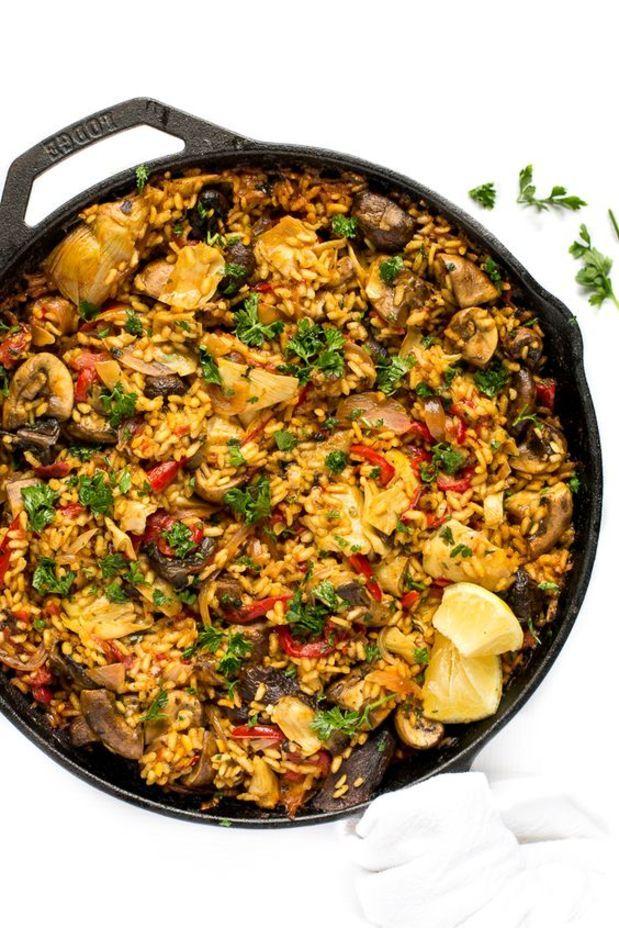 blissfulbasil.com Paella champignon....aussi 31 recettes de paellas végétaliennes et végétariennes à faire.