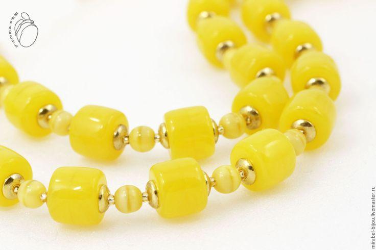 Купить Браслет Лимонный фреш - желтый, лимонный, ярко желтый, лимон, яркое украшение, янтарь
