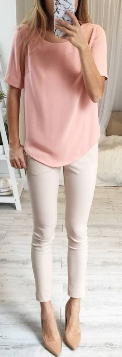 Pink Short Sleeve Blouse + Beige Pants                                                                             Source
