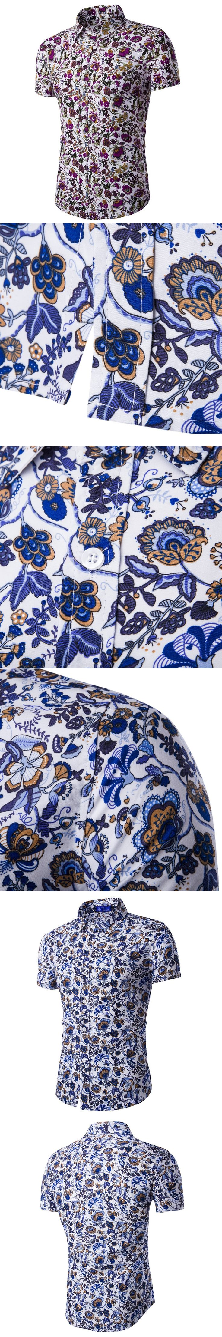 Fashion Mens Hawaiian Shirts Short Sleeve Flower Printed Shirt Men Casual Slim Fit Social Floral Blouse Brand Clothing