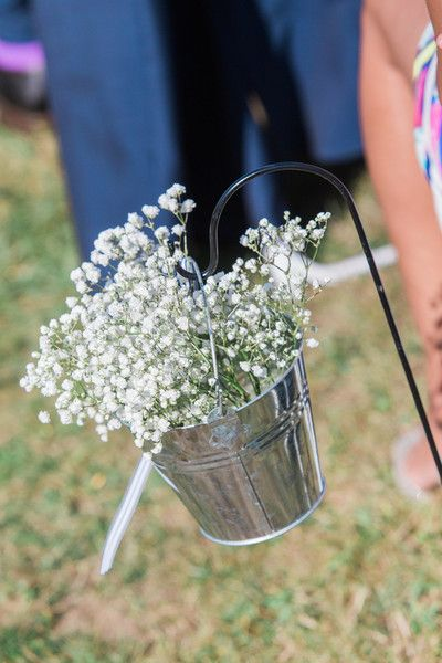 Simple aisle marker idea - hanging tin buckets with baby's breath {The Maine Tinker Studio}