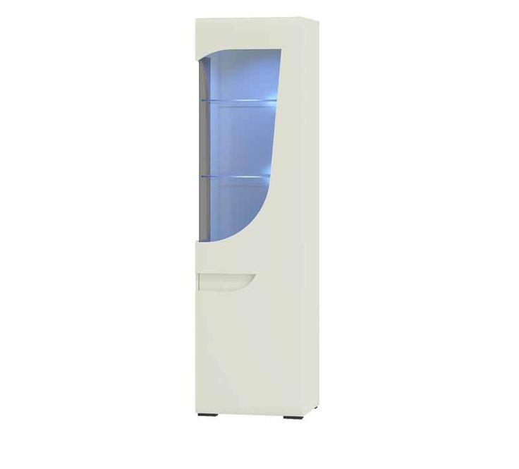 BRYZA WITRYNA PRAWA BRW-2PC Wysoka witryna prawa z 1 drzwiami częściowo przeszklona, wewnątrz półki. Szyba przyciemniana, niebieskie diodowe oświetlenie.   Witryna stworzona do salonu, jadalni lub pokoju młodzieżowego. Dostępna w śnieżnobiałym kolorze, bez uchwytowa. Wykonana przez sprawdzonego producenta mebli firmę Restol, w ramach sytemu meblowego Bryza. Mebel posiada front wykonany z płyty MDF na wysoki połysk oraz matowy korpus.