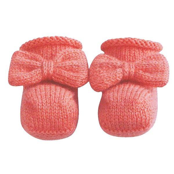 Babysokjes met strik breipatroon