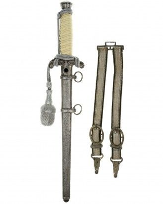 Army Officer's Dagger [M1935] with Hangers, Portepee and Certificate - P.D. Lüneschloss, Solingen