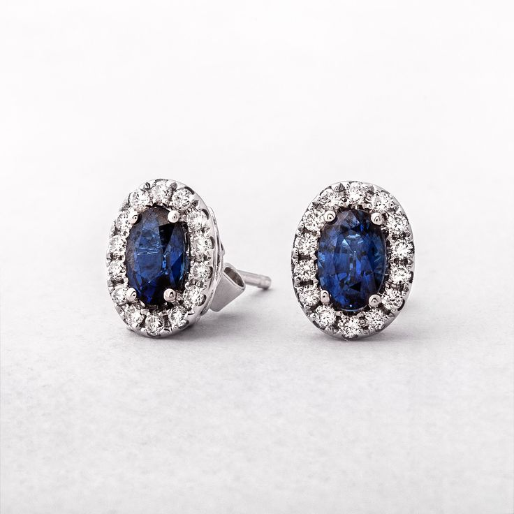 White Gold Oval Sapphire & Diamond Studs
