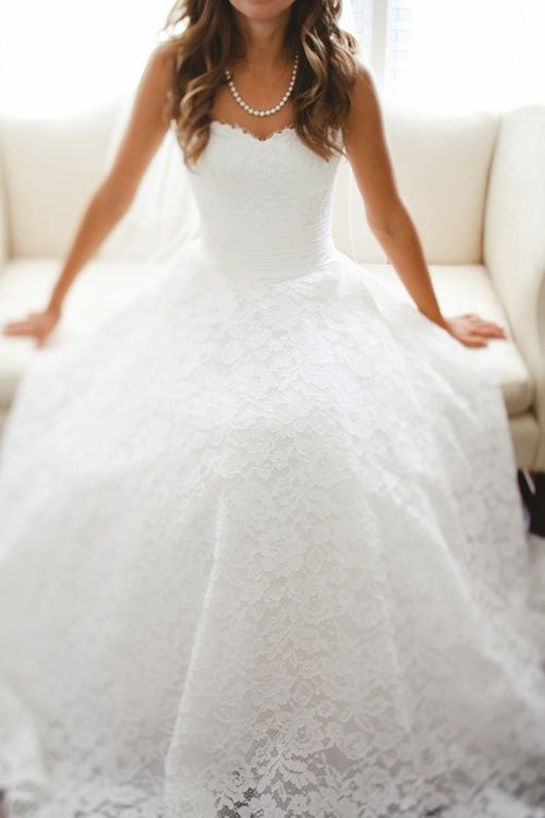 Modern Wedding: This is a great example of a modern wedding dress! Many bridal stores have a large collection of lace overlay wedding dresses! (and the necklace I must say is the perfect touch!) Follow me for your dream wedding pins! Boards: Vintage, classical , modern , The dress and makeup! Comment for any requests