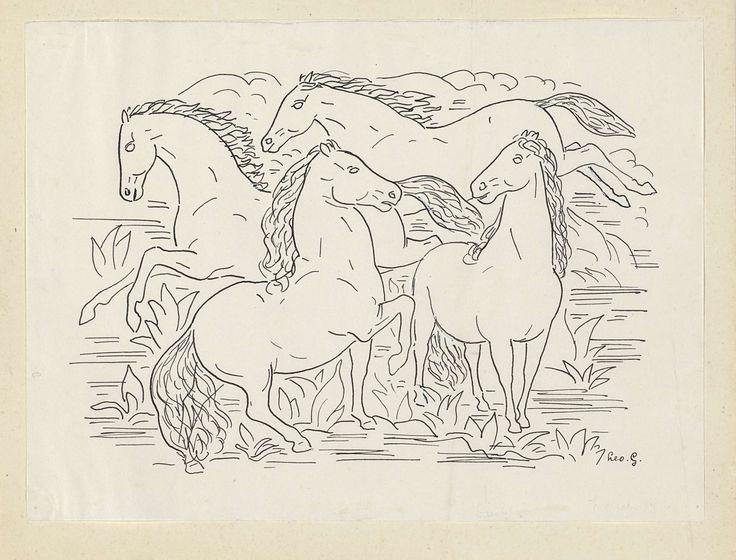 Leo Gestel | Ontwerp voor een vignet voor het maandblad voor Beeldende Kunsten: vier paarden, Leo Gestel, 1891 - 1941 | Ontwerp voor een prent.