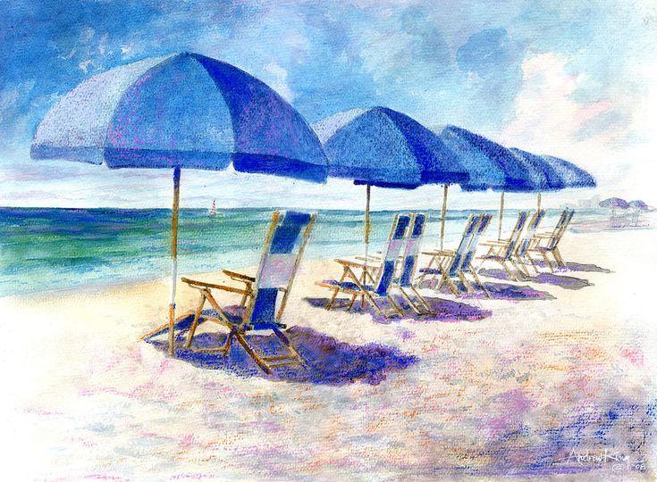 Beach Umbrellas Beach watercolor, Beach art, Beach umbrella