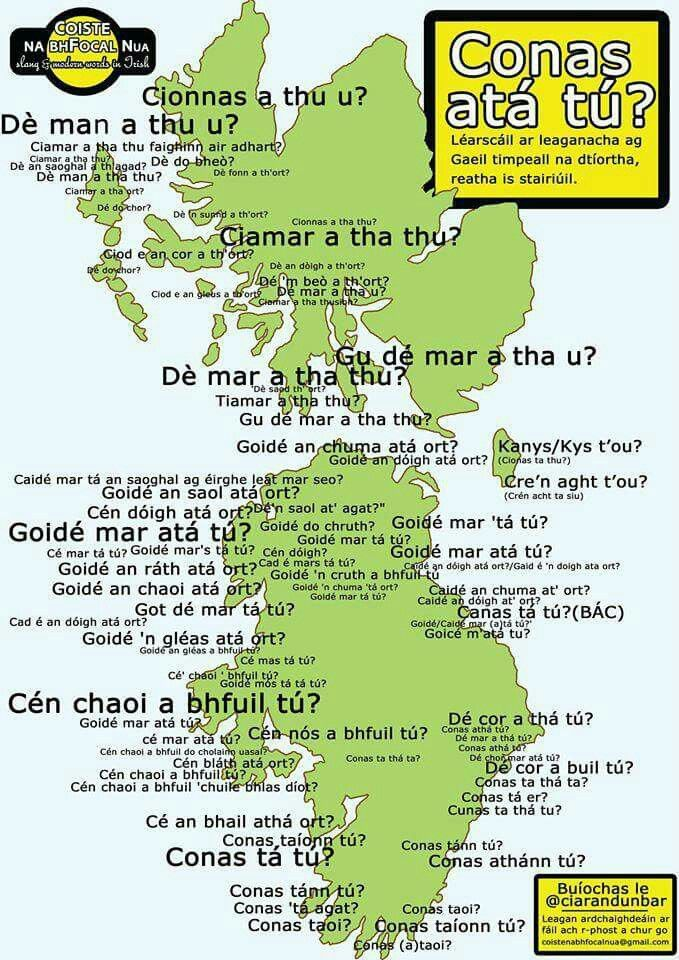 How are you? In different dialects of Gaelic.