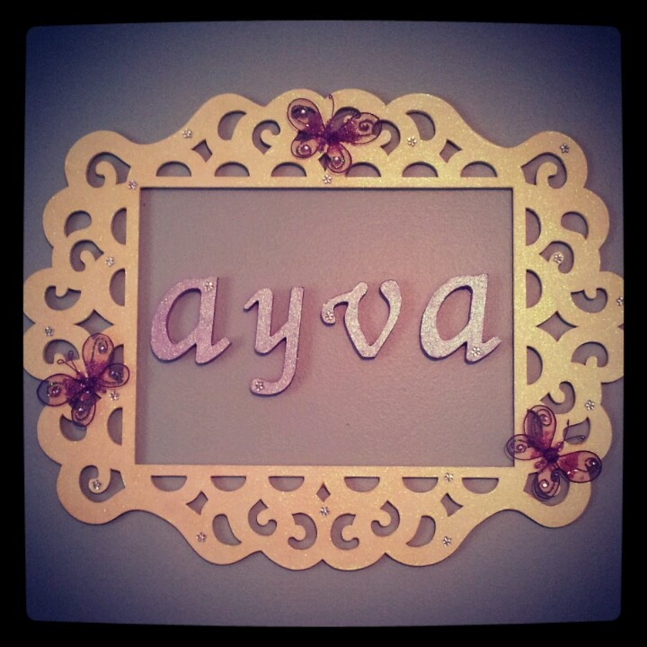 Diy name wall decor for baby girl nursery frame letters for Baby room decoration letters