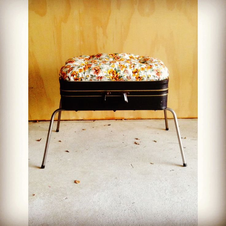 Suitcase stool made out of recycled suitcase