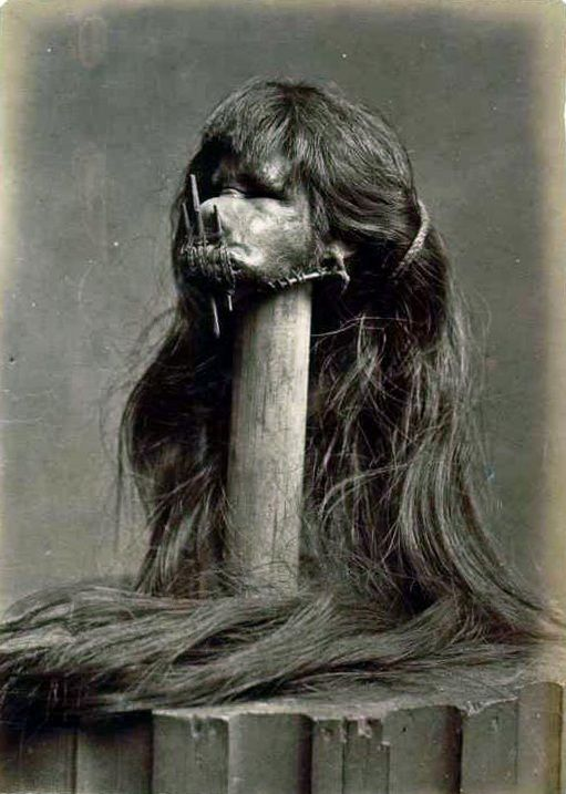 Tsantsa (Specially prepared human head that is used for trophy, ritual, or trade purposes.)