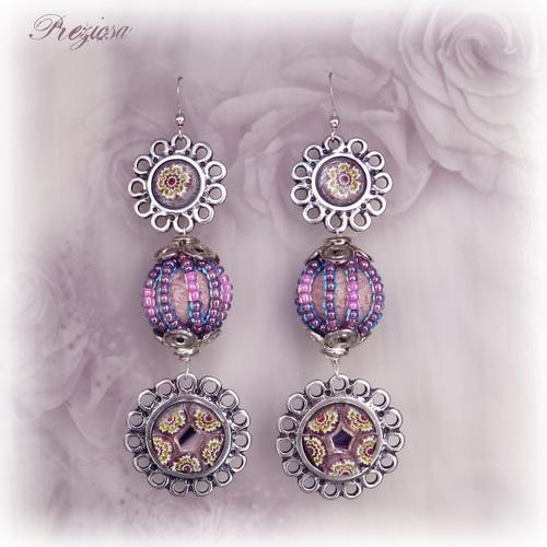 Silver Flowers ◘ Glass & Millefiori Earrings