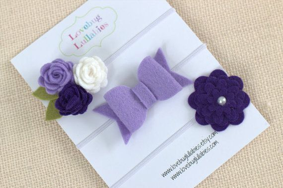 Purple Felt Headband or Hair Clips Set of 3 by LullabyBlossoms
