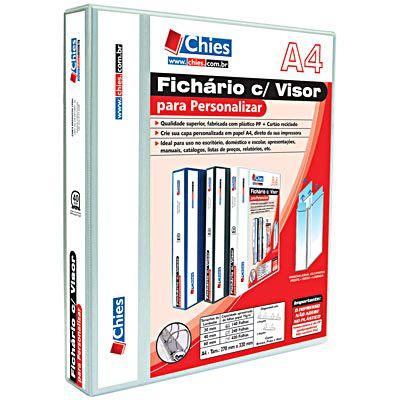 Fichário 4 argolas plástico A4 lombada 4.0 branco 1378 Chies - Organização - Kalunga.com