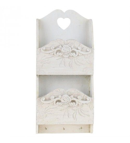 WOODEN WALL LETTER HOLDER IN WHITE W_EMBOSSED DECOR 18X8X39