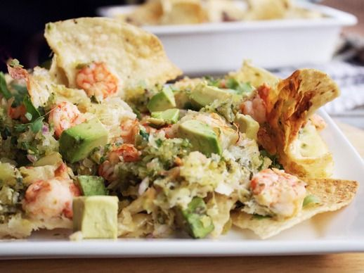 Shrimp Nachos With Tomatillo Salsa #recipe for the #superbowl