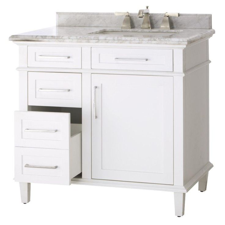 Home Decorators Collection Sonoma 36 in. Vanity in White with Marble Vanity Top in Grey/White-8105100410 - The Home Depot