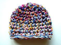 yarn scraps, how to crochet, super bulky beanie, s hook projects, how to crochet a multi-strand hat, free crochet pattern