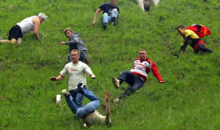 Every year in Glouster, England locals and tourists alike gather together and roll a 9-pound round of Double Gloucester cheese off Cooper's Hill during the Spring Bank Holiday.