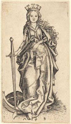 Saint Catherine of Alexandria by Martin Schongauer, 1480-90.