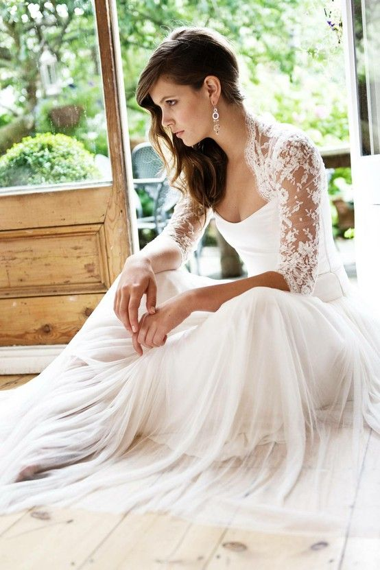 """I'm lovin the length of the sleeves on these wedding gowns, not to mention the lace! """"Walking Down the Aisle: Brides With Sleeves Do It Better 