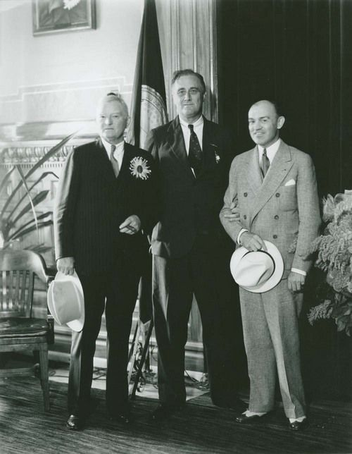 Franklin D. Roosevelt, 32nd president of the United States, with Kansas Governor Harry Woodring, 1932