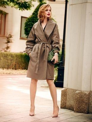 Пальто с запахом и шалевым воротником