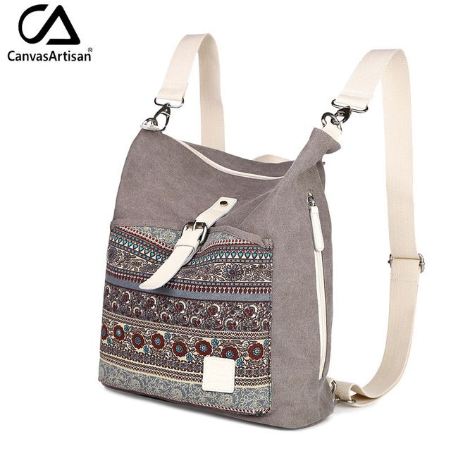 Canvasartisan высочайшее качество женщины холст рюкзак bookbag женщины двойного назначения сумка ежедневно путешествия рюкзаки кроссбоди мешки