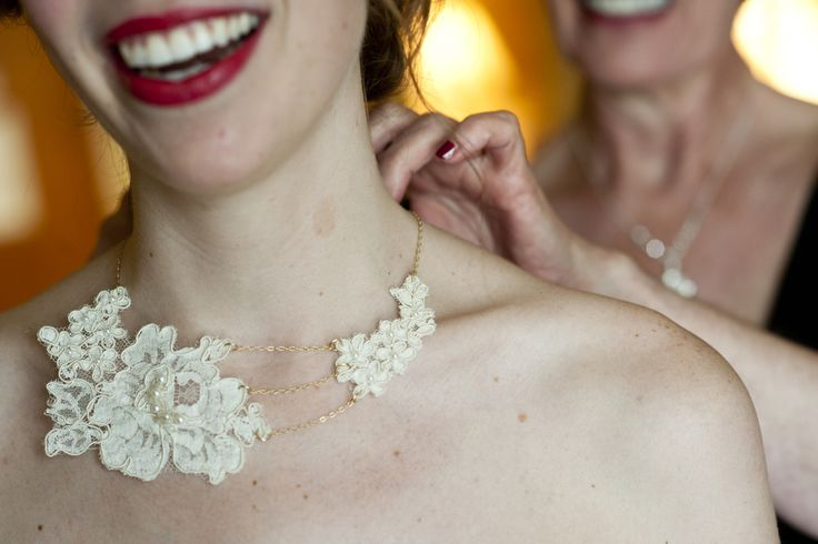 Love the lace necklace she made her mom's dress. Such a good idea!