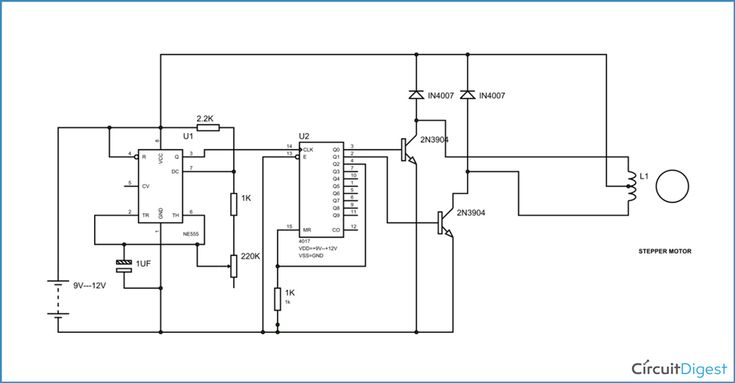 Two stage stepper motor driver circuit electronic for Stepper motor driver circuit diagram