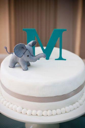 Elephant and monogram cake.