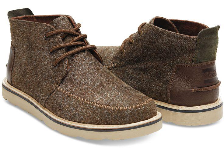 Dark Earth Herringbone/Leather Men's Chukka Boots | TOMS