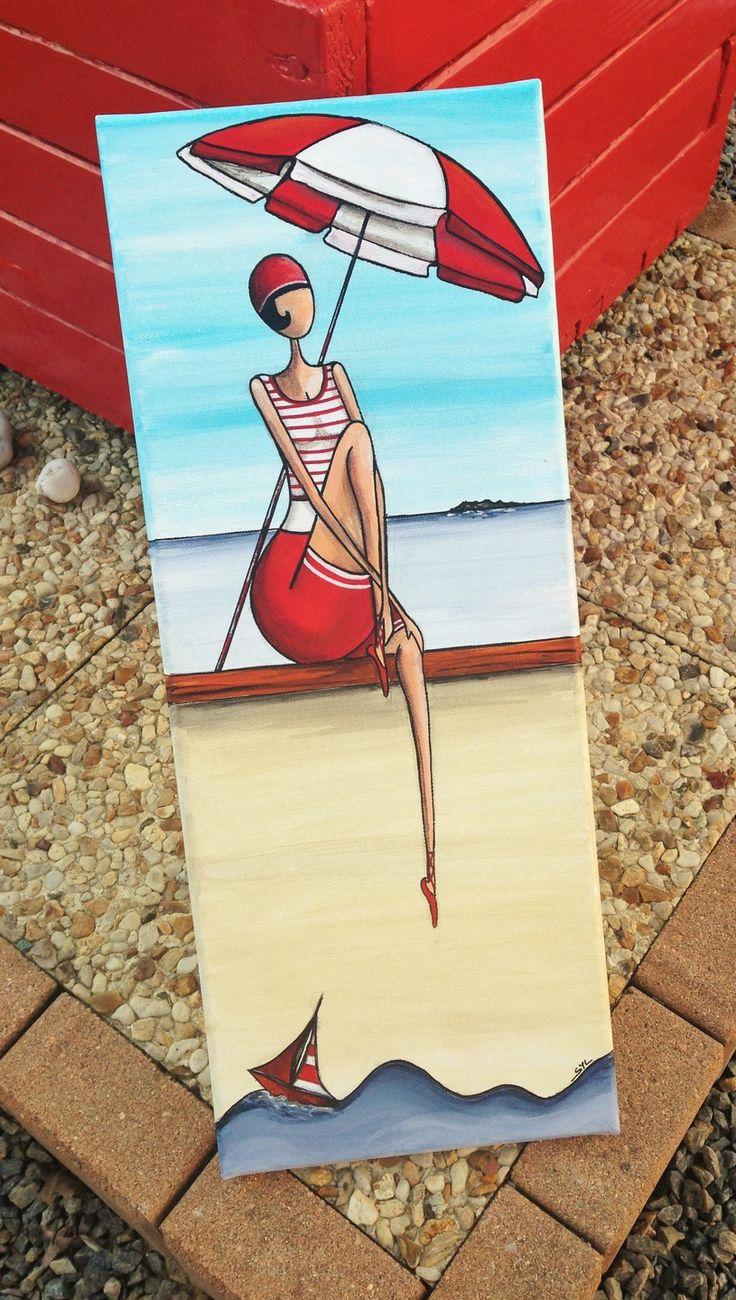 """""""La demoiselle au parasol"""" peinture acrylique"""