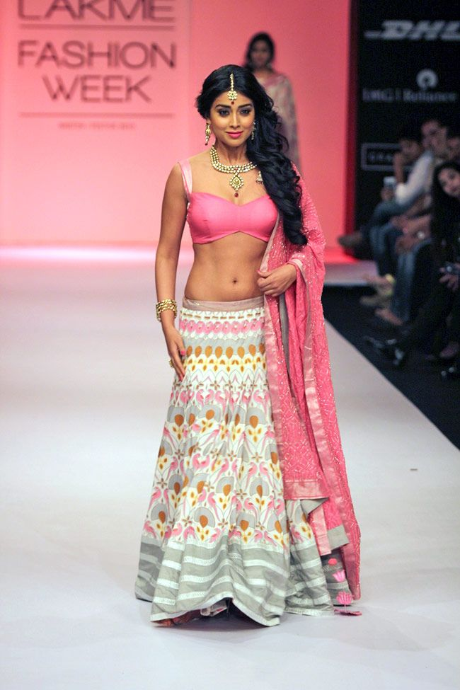 Actor Shriya Saran for designer Shravan Kumar https://www.facebook.com/shravansstudio @ Lakme Fashion Week Winter-Festive, 2013 | PHOTO: Yogen Shah | India Today