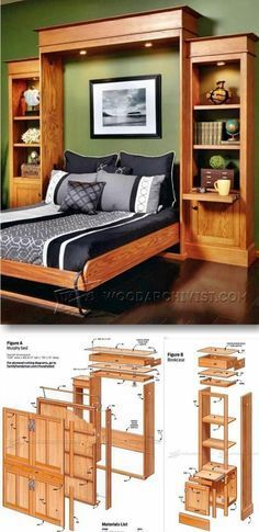 A Wooden Murphy Bed Within a Bookshelf #woodworkingplans