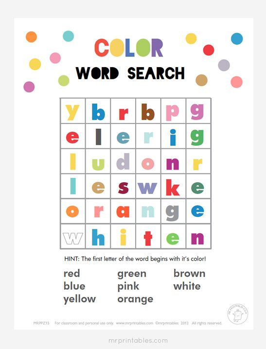 Printable Word Search Puzzles for Kids Mr Printables