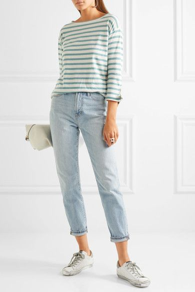 Madewell - Marisol Striped Slub Cotton And Linen-blend Top - Green - x large