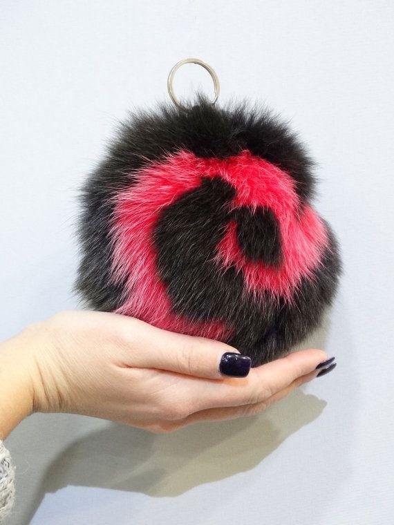 Large fur keychaincolorful fur ballslarge pom by FilimegasFurs