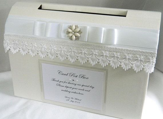 Vintage Guipure Lace & Pearl Wedding Card Post Box on Etsy, $48.48 AUD