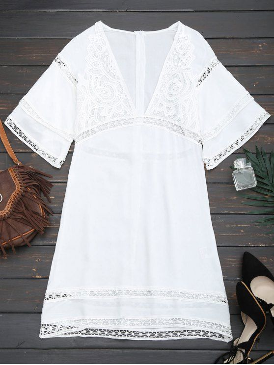 AD : Crochet Plunge Beach Kaftan Cover Up - WHITE     A plunging collarline highlights the on-trend beach coverup dress with crochet trim, zip back closure, a midi length and layered bell sleeves.  Gender: For Women   Material: Cotton,Polyester   Pattern Type: Floral   Decoration: Crochet   Weight: 0.3200kg   Package: 1 x Cover Up