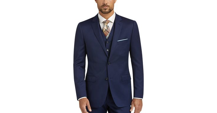 Check this out! DKNY Blue Vested Extreme Slim Fit Suit - Men's Slim Fit from MensWearhouse. #MensWearhouse