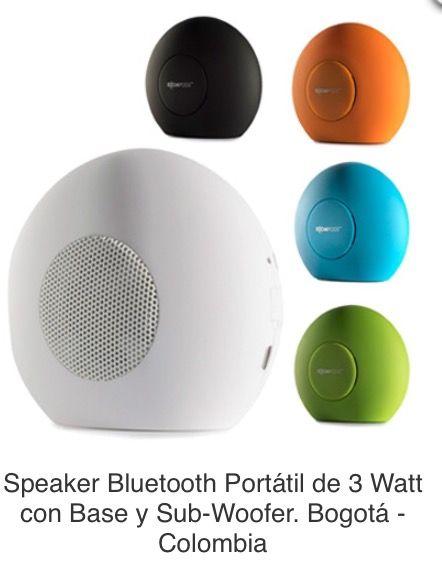 Speaker Bluetooth Portátil de 3 Watt con Base y Sub-Woofer. Batería Incorporada de 1.000 MAH (Mili-Amperios Hora). Con Acabado Caucho, Incluye Cable de Carga y Bolsa de Viaje. Tipo de Producto: IMPORTADO.  Medidas: 9 cm alto x 5.5 cm ancho x 10 cm diámetro.  Área de Marca: 3 cm de ancho.  Técnica de Marca: Tampografía Colores Disponibles: Azul, Blanco, Negro, Naranja y Verde.