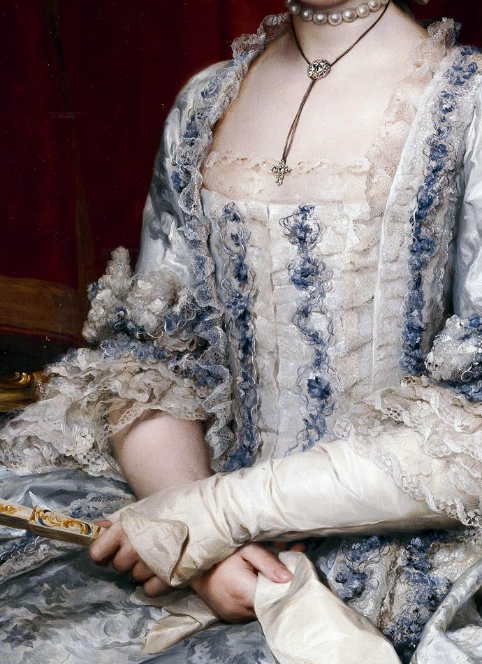 Pearl necklace, diamond cross and large diamond on leather choker, white silk mitts with revers, elbow length close sleeves with lace engageantes, lace and silk ruches to white and blue silk gown, matching stomacher, closed fan. Detail from Infanta Maria Luisa de Borbon, gran duquesa de Toscana by Anton Rafael Mengs, circa 1770. crop from portrait found at http://thepragmaticcostumer.wordpress.com/2013/05/07/an-appetite-for-fashion-decadence-a-brief-history-of-stomachers/