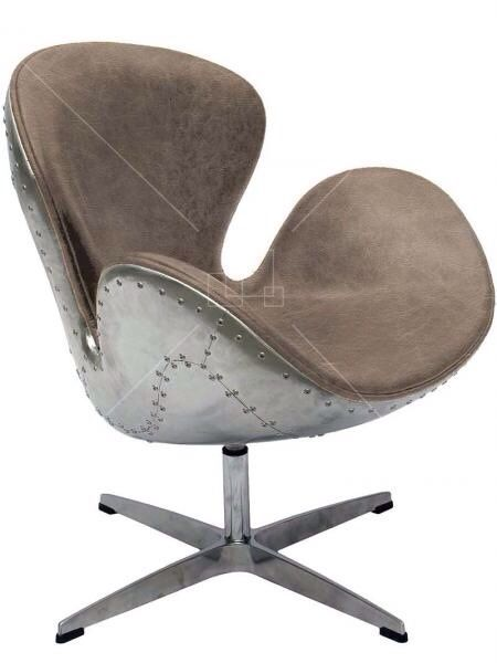 Spitfire Swan Chair by Arne Jacobsen in Vintage Style Grey Leather and Aluminium Shell