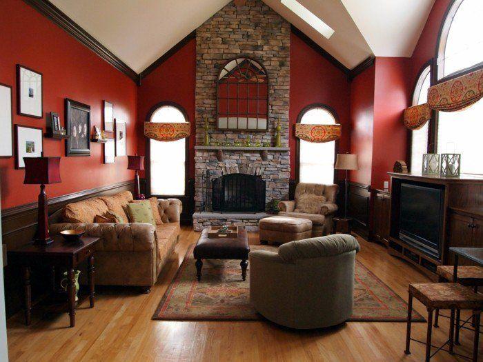 couleur peinture salon rouge, magnifique cheminée en pierre, look sophistiqué, opulent