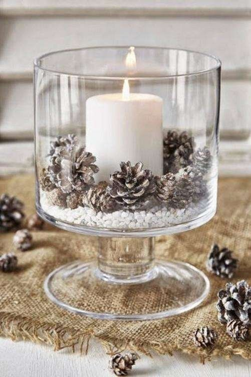 Beautiful Centerpieces Created With Candles- Frosted Pinecones