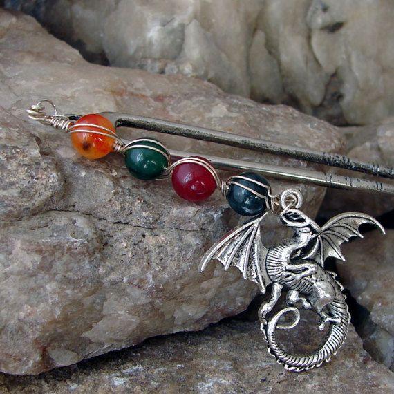 Haar-Gabel-Edelstein und Silver Dragon Haar Pick Haar Stick