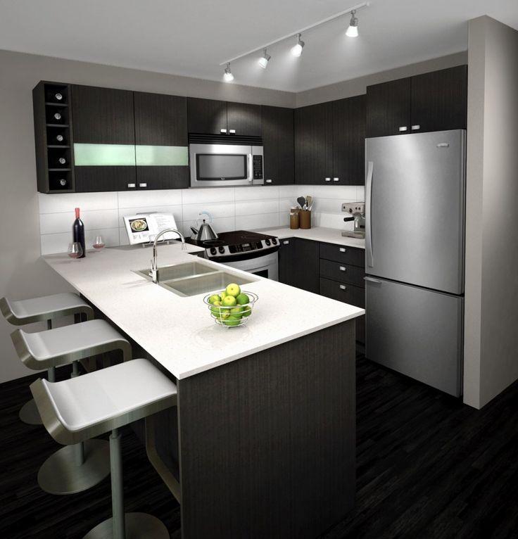 Mała kuchnia z Dark Grey Szafy Biały ceramiczny blat i Czarny Panele podłogowe